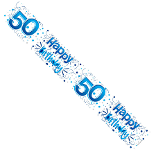 50TH Happy Birthday Holographic Banner 9ft