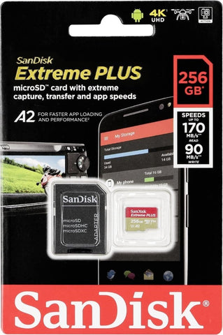 SanDisk microSDXC 256GB 170MB A2 with adapter