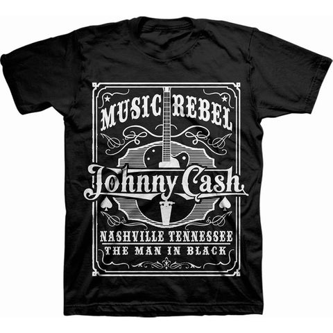 JOHNNY CASH UNISEX TEE: MUSIC REBEL