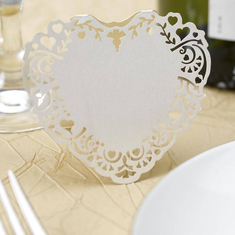 Vintage Romance Free Standing Laser Cut Place Cards - Ivory