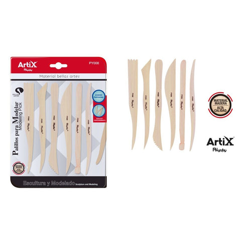 Artix Wooden Clay Modelling Tools - 6pcs