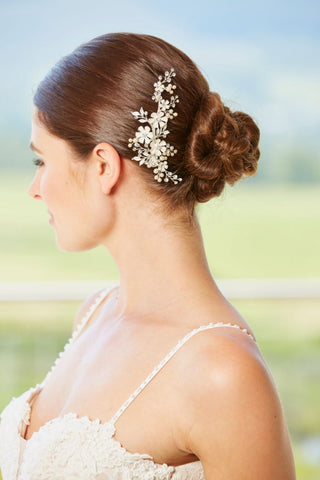 Flowers, Pearl and Diamante Hair Clip