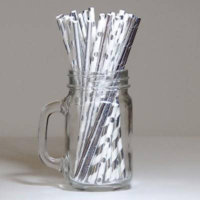 Silver and White Assorted Drinking Paper Straws 30pc