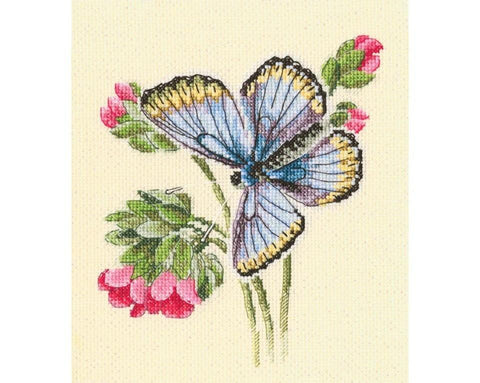 Cross Stitch Kit (counted)  - Butterfly on a dainty flower