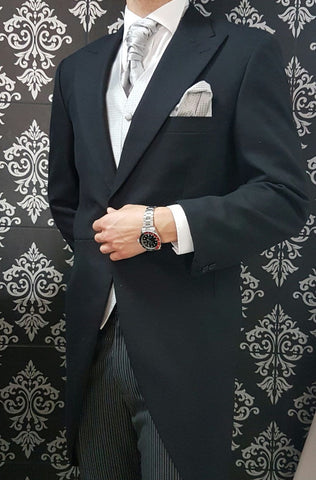 Black Tailcoat Silver Galaxy Suit Hire