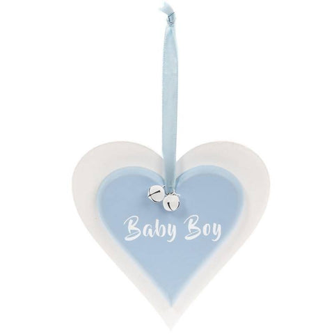Baby Boy - Twin Heart Plaque - Blue