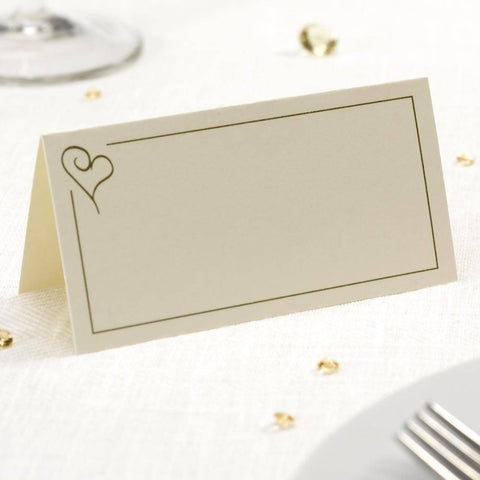 Contemporary Heart Place Cards Ivory & Gold - Pack of 50