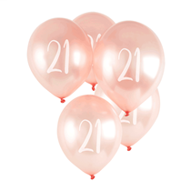 "Age 21 Rose Gold 12"" Latex Balloons 5pk"