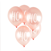 "Age 40 Rose Gold 12"" Latex Balloons 5pk"