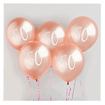"Age 50 Rose Gold 12"" Latex Balloons 5pk"
