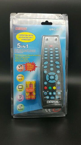 OMEGA 5 in 1 Universal Remote Control for TV SKY VCR AUDIO DVD URC-04-1