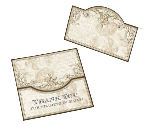 24 Vintage Gold Place Cards