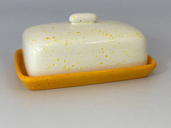Butter Dish with White Lid Yellow Spots - PeterBowenArt