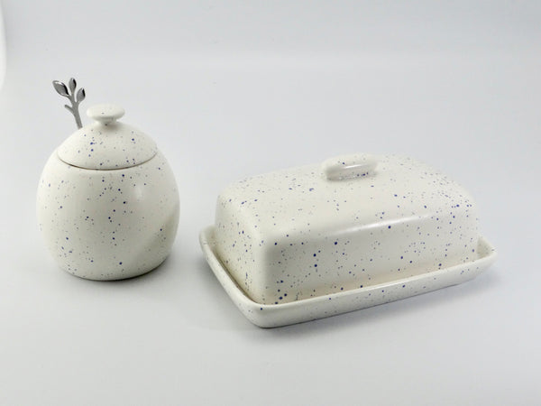 Butter Dish and Sugar Bowl Set - Light Blue Speckled Glaze - PeterBowenArt