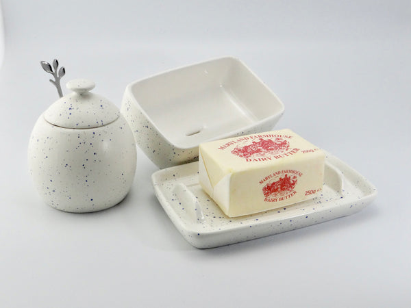 Butter Dish and Sugar Bowl Set - Light Blue Speckled Glaze