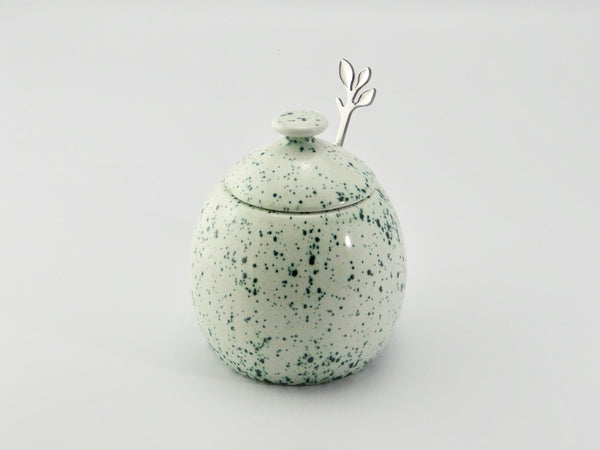Butter Dish and Sugar Bowl Speckled Green - PeterBowenArt
