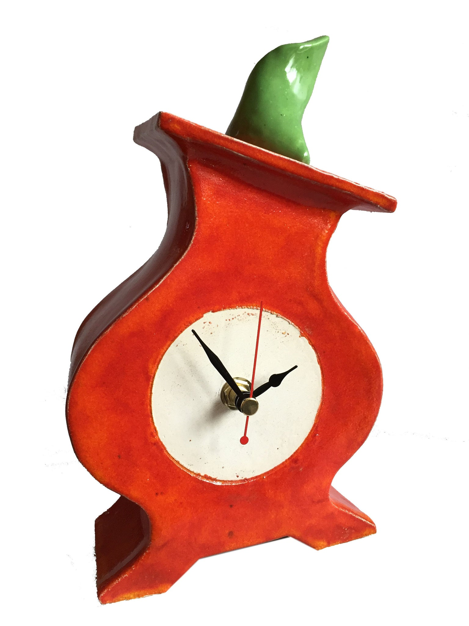 Shelf Clock, Quirky Round Clock for Mantel, Handmade Clock for Desk, Tabletop Clock, Bedside Table Clock - PeterBowenArt