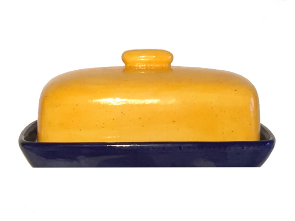 Butter Dish, Yellow Lid and Royal Blue Dish - PeterBowenArt