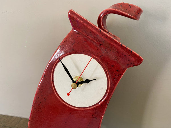 Table Clock, Red Clock, Shelf Clock, Mantle Clock - PeterBowenArt