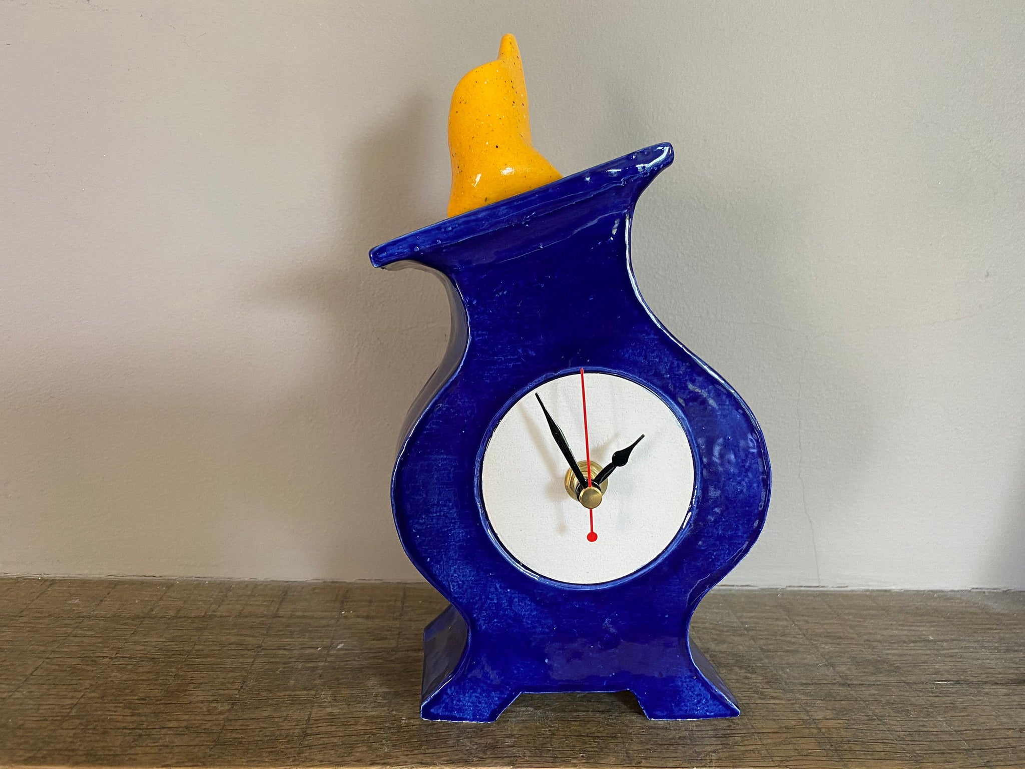 Shelf Clock, Quirky Round Clock for Mantel, Unique Handmade Clock for Desk, Bedside Table - PeterBowenArt