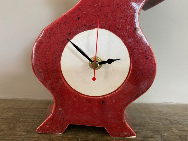 Shelf Clock, Tabletop Clock, Quirky Round Clock, Mantel Clock, Unique Handmade Clock for Desk/Bedside Table - PeterBowenArt