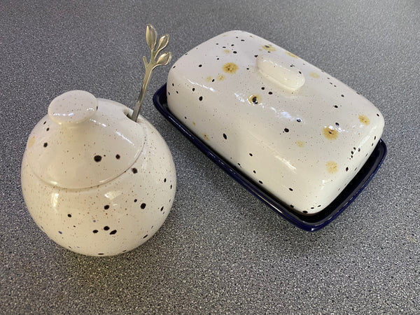 Butter Dish and Sugar Bowl Set - Confetti Glaze - PeterBowenArt