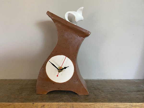Clocks, Mantel Clock, Handmade Pottery Clock, Mantel Clock, desktop clock, Bedside Table clock, Retro Decor Clock - PeterBowenArt