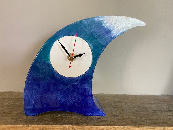 Tabletop Clock, Wave Handmade Ceramic Design
