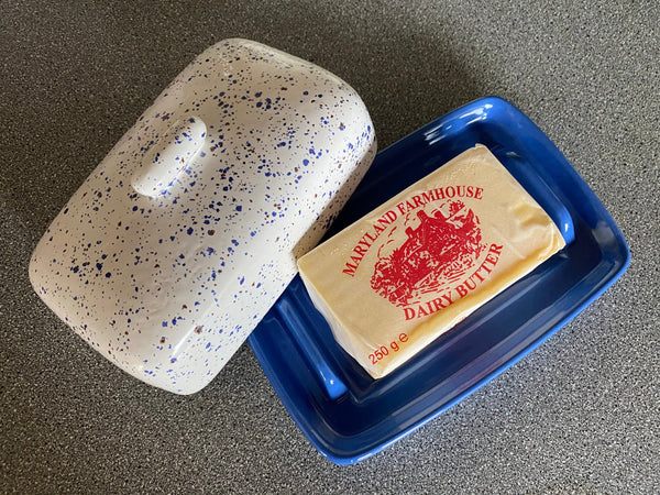 Butter Dish, Speckled Blue with Airforce Blue Dish - PeterBowenArt