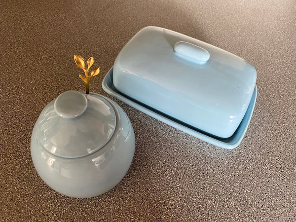Butter Dish and Sugar Bowl Set - Powder Blue Glaze - PeterBowenArt