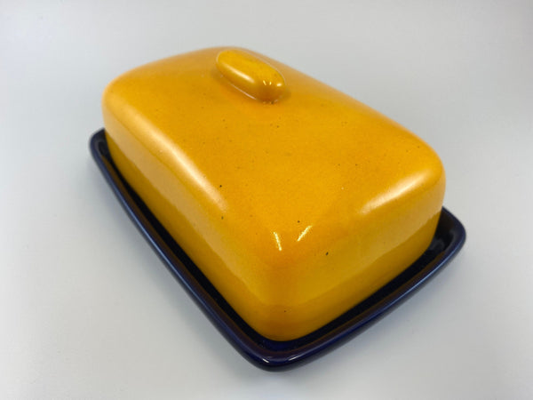 Butter Dish and Sugar Bowl Set - Yellow Speckle Glaze - PeterBowenArt
