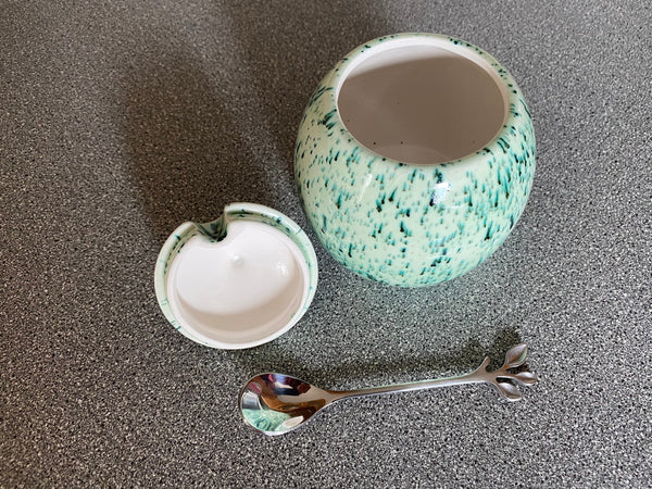 Sugar Bowl with Silver Leafy Spoon Speckled Green Glaze - PeterBowenArt