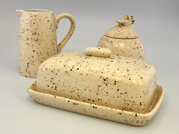 Butter Dish, Sugar Bowl and Cream Jug Set - Speckled Honey - PeterBowenArt