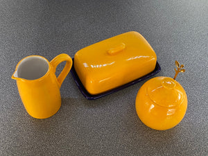 Butter Dish, Sugar Bowl and Cream Jug Set - Speckled Yellow - PeterBowenArt