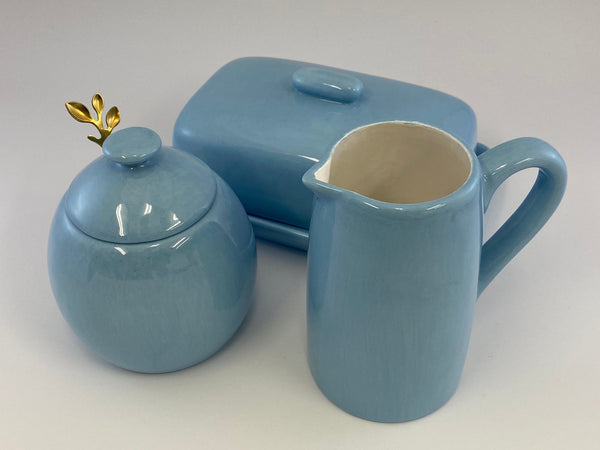 Butter Dish, Sugar Bowl and Cream Jug Set - Powder Blue - PeterBowenArt