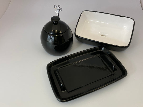 Butter Dish and Sugar Bowl Set - Jet Black Glaze - PeterBowenArt