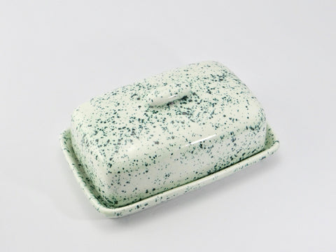 Butter Dish, Speckled Green Glaze