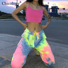 Load image into Gallery viewer, Neon tie dye loose fitting joggers