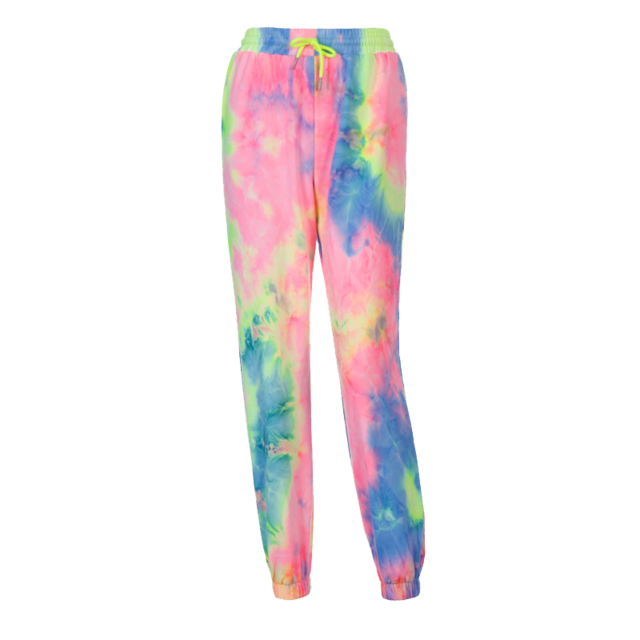 Neon tie dye loose fitting joggers