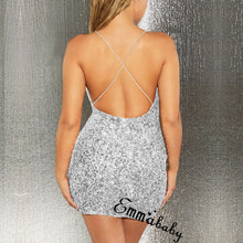 Load image into Gallery viewer, Women's Spaghetti Strap Deep V Neck Sequins Glitter Short Dress