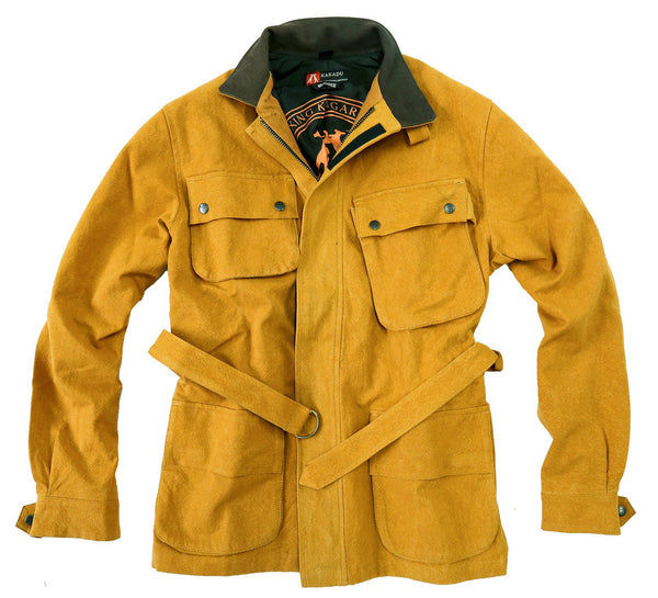 Biker | Outdoor Herrenjacke Mudgee aus robustem Canvas in mustard und navy- 2.Wahl - OUT OF AUSTRALIA | Kakadu Traders Australia