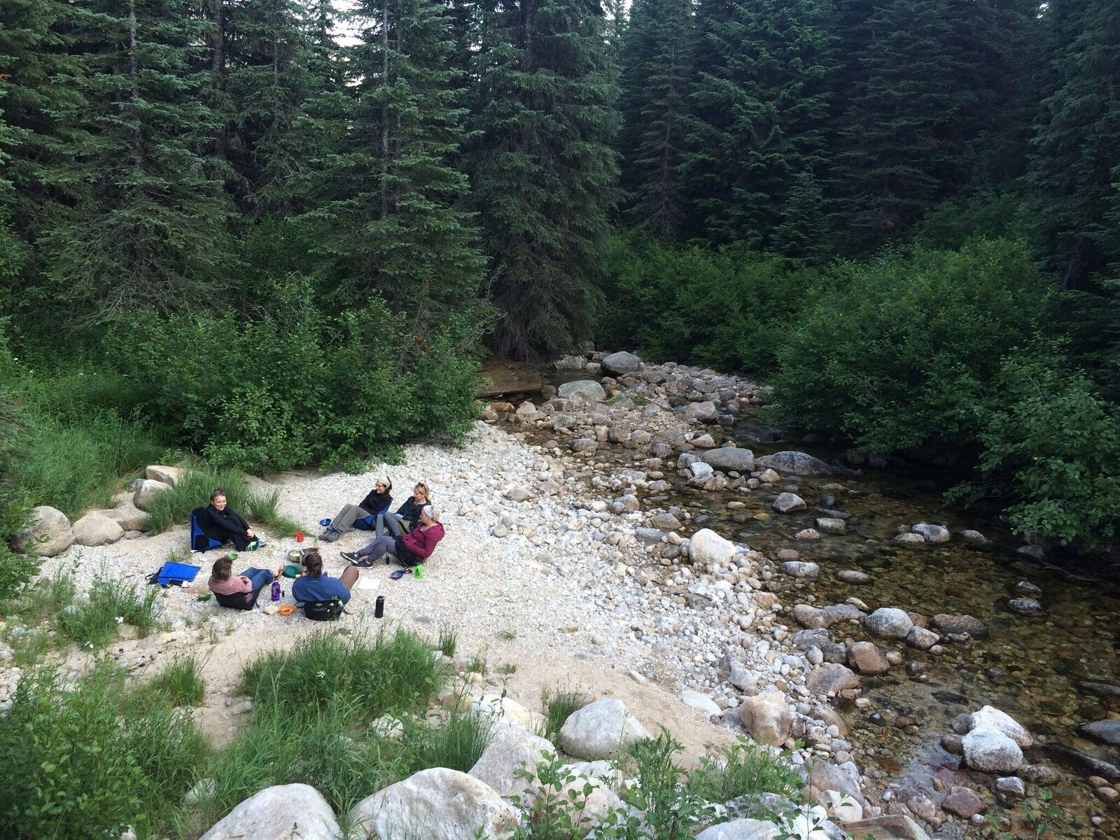 Group camping in the woods by a stream, aerial view