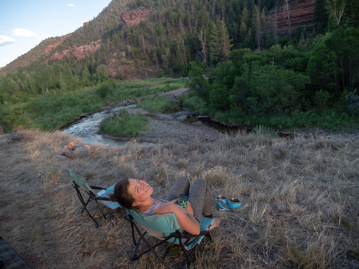 Relaxing in a Crazy Creek chair