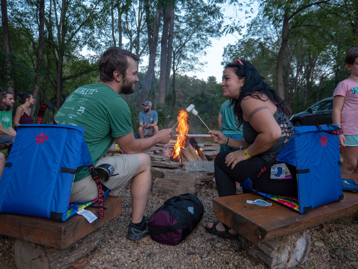 Around the campfire with Crazy Creek chairs