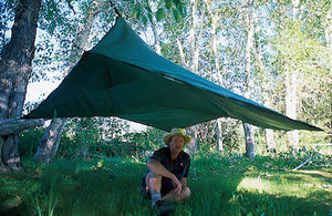 Standard Big Area Tarp ties easily to trees with 20 anchor points.