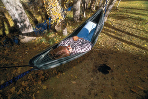 Relax in a hammock anywhere, no frame needed!