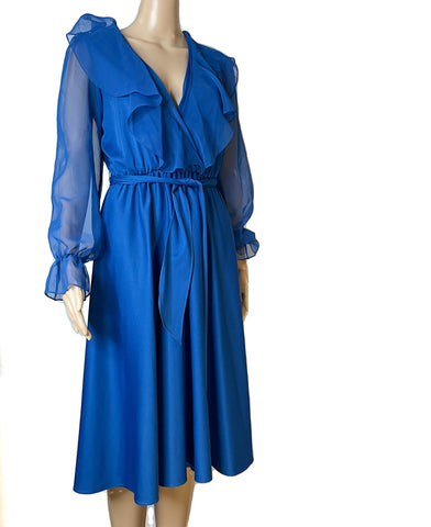 Blue Vintage Sheer Sleeve Dress