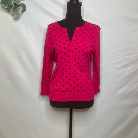 Ellen Tracy Polka Dot Pink Cardigan