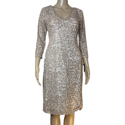 Marina Taupe Key Hole Sequin Lace Formal Dress