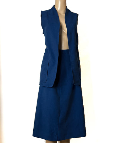 Fire Islander Blue Suede Two Piece Vintage Suit